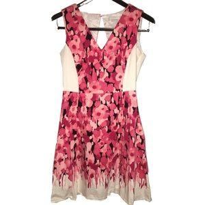 New York & Company Pink Black & White Floral Dress